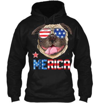 Pug Merica 4th of July T shirt Men Kids Boys Girls Dog Puppy Pullover Hoodie 8 oz