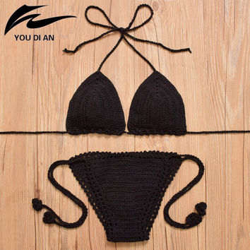 YOUDIAN Sexy Women Knitted Swimsuit Swimwear Sweet Quick Drying Female Push-up Bikini