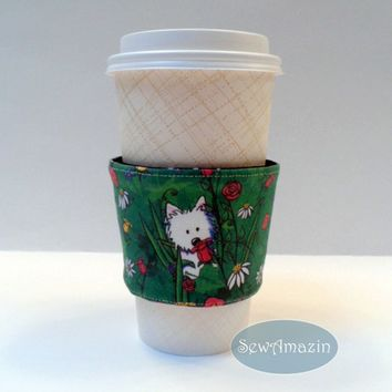 Garden Westie Coffee Cup Cozy Wrap Sleeve