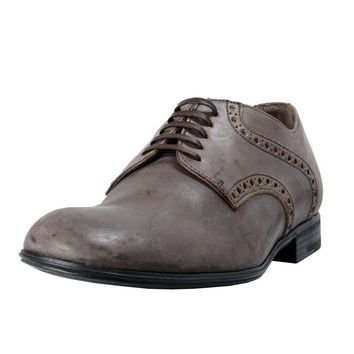 Dolce & Gabbana Men's Brown Distressed Look Leather Oxfords Shoes