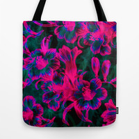 Pink Space Flora Tote Bag by Page394