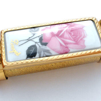 Limoges Enamel Rose Lipstick Holder Brevete SDGD Paris Vintage