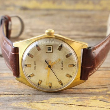 Vintage Poljot 29 jewels automatic mens watch gold plated russian watch ussr cccp