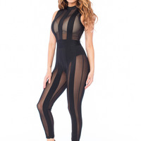 Meika Sheer Mesh Detail Bandage Jumpsuit- Black