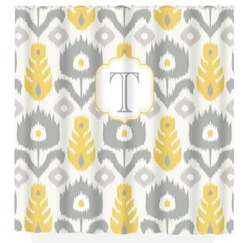 Yellow Gray SHOWER CURTAIN Custom Monogram Personalized iKat Pattern Dorm Bathroom Girl Bathroom, Add On Bath Towel,  Bath Mat