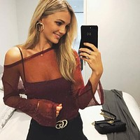 Women Fashion Perspective Gauze Long Sleeve Bodycon T-shirt Tops
