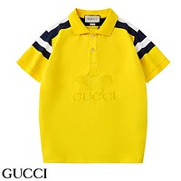 GUCCI New fashion embroidery letter tennis racket couple lapel top t-shirt Yellow