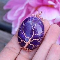 Purple veins agate copper wire-wrapped Tree of Life pendant, Yggdrasil, World Tree pendant