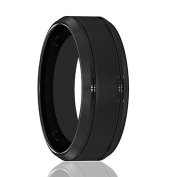 Mens Wedding Band - Tungsten Wedding Band - Black Tungsten Wire Brushed Double Groove - Tungsten Wedding Ring - Man Tungsten Ring - 8mm