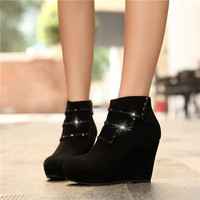 round toe female ankle boots wedge heels rhinestones platform lace-up suede celebrity grace y new women shoes autumn Alternative Measures