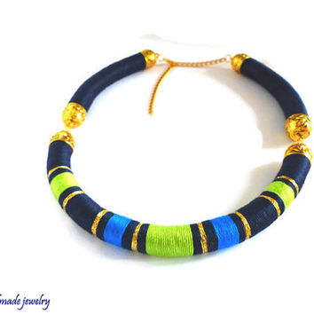 Dark navy blue necklace. Tribal necklace. African statement necklace. Color block necklace. Funky necklace. Boho chic necklace.