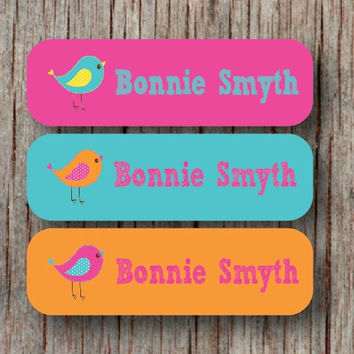 56 Personalized Waterproof Dishwasher Safe Name Labels Custom Camp School Daycare Name Stickers Birds Girl Baby Bottles Sippy Cups - Bonnie