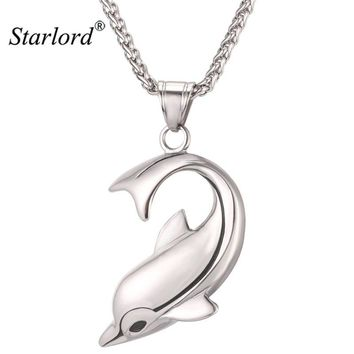 Starlord Charming Dolphin Necklace Pendant Stainless Steel/Gold Color Rope Chain For Women Lucky Love Jewelry Gift 2017 GP2448