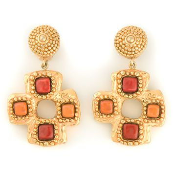 Christian Lacroix Vintage stone cross clip-on earrings