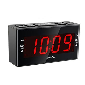 [Update Version ]DreamSky AM/FM Clock Radio With Dual Alarms And SLeep Timer ,Large Number Display,Battery Backup