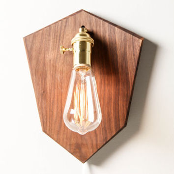 Mounted Light in Walnut- Wall Lamp, Wooden Lighting, Wall Light, Sconce, Modern Light