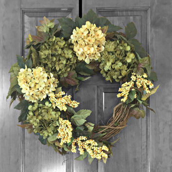 Summer Wreath, Front Door Wreaths, Green Hydrangea Wreath, Door Decoration, Year Round Wreath,XL Wreath, Outdoor Door Wreathe, Summer Decor