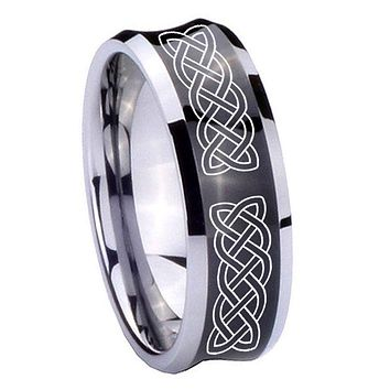 8MM Black Concave Celtic Knot Two Tone Tungsten Carbide Laser Engraved Ring