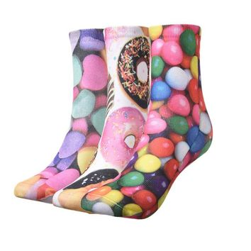 Donuts, Ice Creams & Candies - 3-D Mid-high Socks Funny Crazy Cool Novelty Cute Fun Funky Colorful