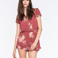 Mimi Chica Gauze Floral Womens Surplice Romper Burgundy  In Sizes
