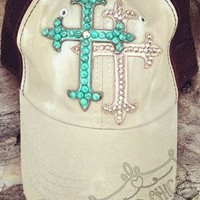 Designer Trucker Hat, Tea Stained with Double Crosses