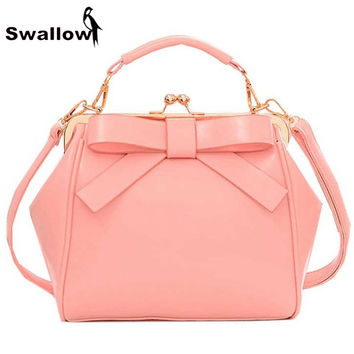 Candy Color Women PU Leather Bow Handbags Women Shoulder Bags Famous Brand 2016 Fashion Frame Bag Female Lady PU Leather Pink