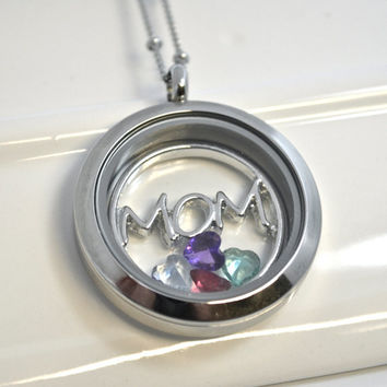 Mom Floating Locket Necklace with Birthstones