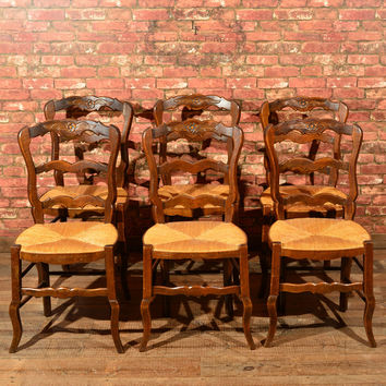 Set of Six Antique French Rush Seat Dining Chairs