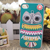 Vintage Brass OWL and Pink Flower  with Leather Hard Case Cover for iPhone 4 Case , iPhone 4s Case , Bling  iPhone Case , A30