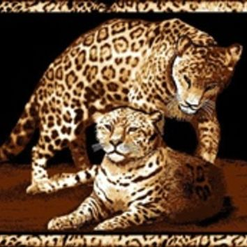 Momma & Baby Leopard College Dorm Room Rug - Animal Themed Dorm Room Decorations for College