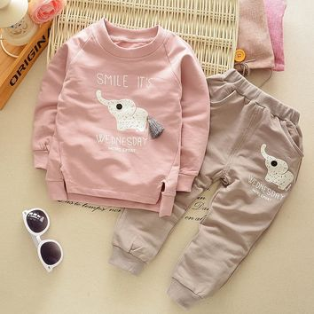 [Mumsbest] New Autumn Spring baby children boys girls Cartoon Elephant Cotton Clothing Sets T-Shirt+Pants Sets Suit 12M-4T