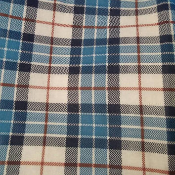 Vintage fabric, Plaid, blue, brown and black, sewing, quilting