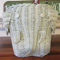 Vintage Large Mint Green Wicker Elephant - Great Magazine Holder or the Small Stuffed Animal Container