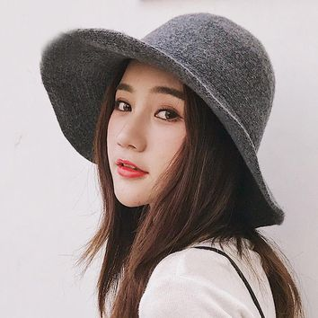 HT1949 Panama Bucket Hat High Quality Women Wool Hat Warm Autumn Winter Knitted Hats for Women Ladies Solid Plain Wide Brim Hats
