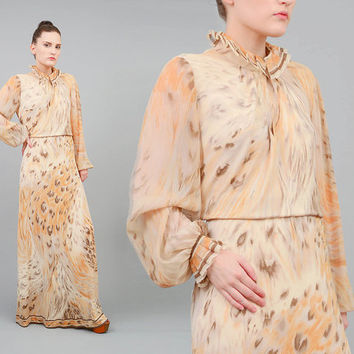 Vintage 70s LEONARD Paris Dress Signed Animal Print Silk Jersey Knit Sheer Sleeve Maxi Dress Tan Brown Medium Large M L