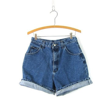 1990s Denim Shorts Dark Wash Blue High Waist LEE Jean Shorts Mom Jeans Denim Womens Size 10 Medium 27 Inch Waist