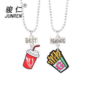 2 Pcs/set Cute fries coke Pendant Best Friends Children Necklaces Fashion Jewelry Boys and girls Birthday Gifts