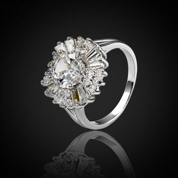 Luxury Silver Color Paved Cubic Zirconia & Crystal Ring For Women Ladies Party Wedding Jewelry