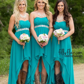 Cecelle 2016 Turquoise High Low Country Rustic Bridesmaid Dresses Strapless Cheap Chiffon Maid of Honor Gowns Custom Made Sale