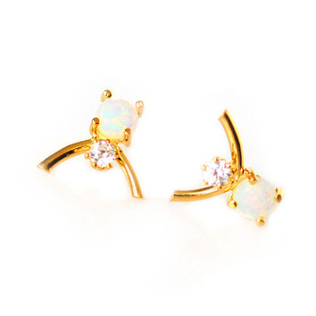 Double Opal Wishbone Studs