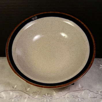 Suncraft Stoneware Cereal Bowl Japan Navy Blue Brown Replacement Luna Pattern International China Oven Dishwasher Microwave Safe Soup Bowl