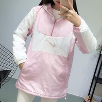 """""""Nike"""" Women Sport Casual Fashion Multicolor Zip Hooded Long Sleeve Pullover Cotton-padded Clothes Tops"""
