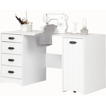 South Shore Artwork Sewing Craft Table with Storage, Pure White - Walmart.com
