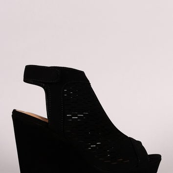 Bamboo Perforated Peep Toe Wedge