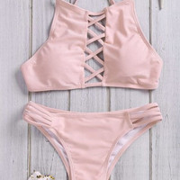 Novelty Halter Neck Solid Color Lace-Up Hollow Out Bikini Set For Women