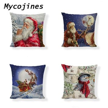 Decorative Pillow Covers Christmas Tree And Santa Sleigh Printed Linen Cushion Cover Home Sofa Seat Bedding Decor Accessories