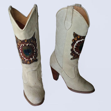 80's Vintage Boho Cowboy Boots Peacock and Quail Feathers Beige Suede Country Chic