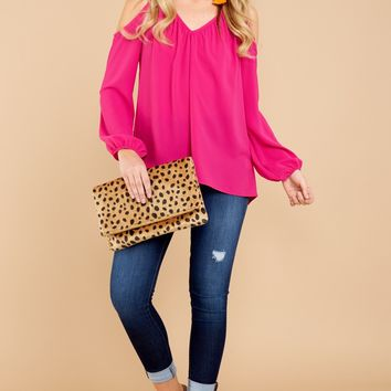 Finally Friday Fuchsia Pink Cold Shoulder Top