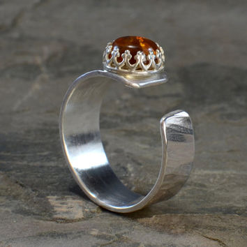 Hammered Sterling Silver Artisan Ring Featuring Organic Amber Stone and Uniquely Handcrafted Band with Industrial Elements