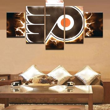 Philadelphia Flyers NHL Hockey 5 Panel Canvas Wall Art Home Decor